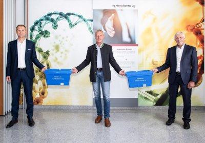v.l.n.r.: Mag. Roland Huemer, Vorstandsvorsitzender der Richter Pharma AG, Mag. pharm. Florian Fritsch, Eigentümer der Richter Pharma AG und Friedrich Pöcherstorfer Finanzvorstand der Richter Pharma AG; Bildquelle: Richter Pharma AG
