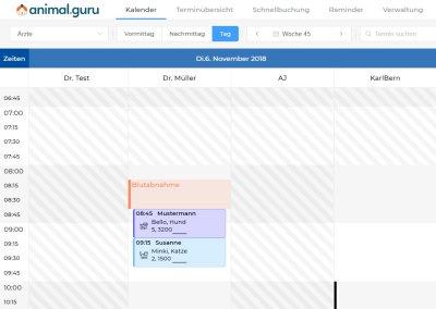 Terminplaner und Ressourcenverwaltung von animal.guru