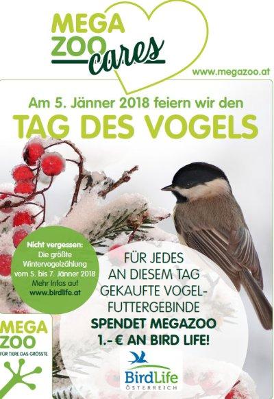 Große Spendenaktion für BirdLife bei Megazoo am 5. Jänner 2018