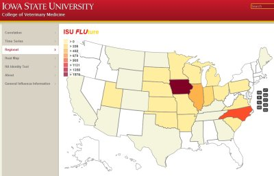 Website tracks swine flu across the US in near-real time; Bildquelle: Iowa State University Veterinary Diagnostic Laboratory (ISU VDL)